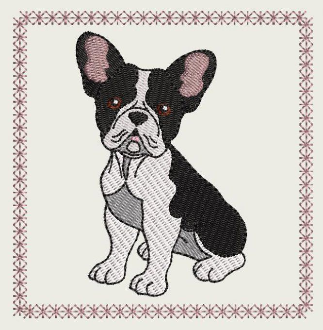 Motif broderie machine Bouledogue