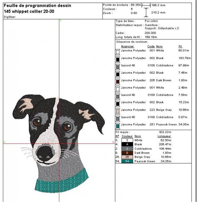Motif broderie machine Whippet